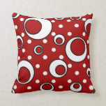 Polka Dot Circles in Red Pillow