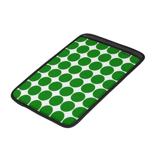 Polka Dot Circles & Spots : Green Polka Dots MacBook Air Sleeves
