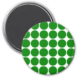 Polka Dot Circles & Spots : Green Polka Dots 3 Inch Round Magnet