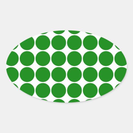 Polka Dot Circles & Spots : Green Polka Dots Oval Sticker