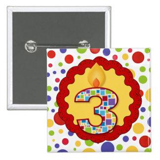Polka Dot Circus Third Birthday Pinback Button
