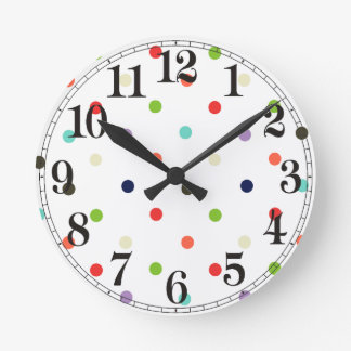 Polka-dot colorful party  confetti round wall clock