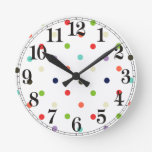 Polka-dot colorful party  confetti round clock