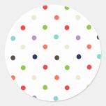 Polka-dot colorful party  confetti classic round sticker