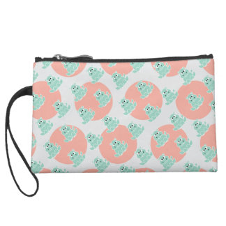 Polka Dot Coral and Pastel Green Wristlet