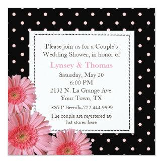 "Polka Dot Couple's Wedding Shower Invitation 5.25"" Square Invitation Card"