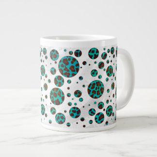 Polka Dot Cow Brown and Teal Print Giant Coffee Mug