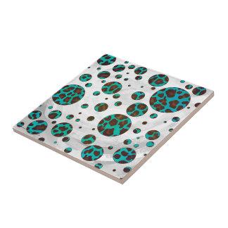 Polka Dot Cow Brown and Teal Print Tile