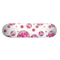 Polka Dot Cow Pink and White Skateboard Deck