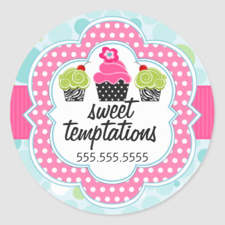 Polka Dot Crazy Cupcake Bakery Business Classic Round Sticker