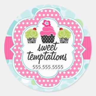 Polka Dot Crazy Cupcake Bakery Business Classic Round Sticker