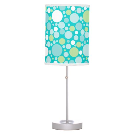 Polka Dot Crazy Pattern Turquoise Green White Desk Lamp
