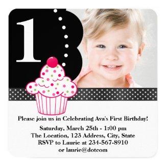 Polka Dot Cupcake Girls Photo 1st Birthday Party Card