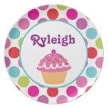 Polka Dot Cupcake - Personalized Melamine Plate
