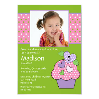 "Polka Dot Cupcake Photo 6th Birthday Invitation 5"" X 7"" Invitation Card"