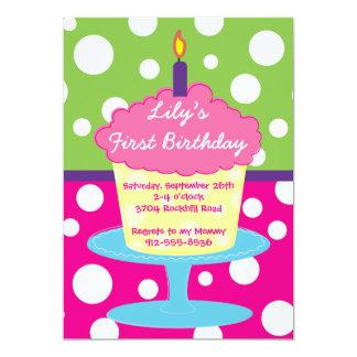 Polka Dot Cupcake Stand Girl's Birthday invite