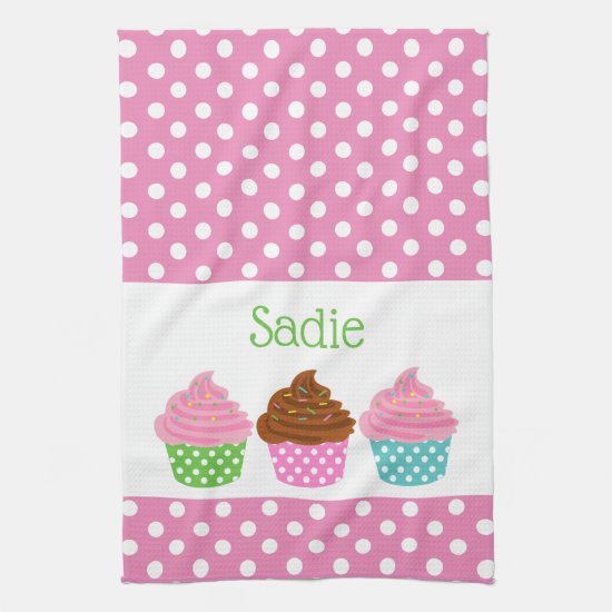 Polka Dot Cupcakes Personalized Kitchen Towel