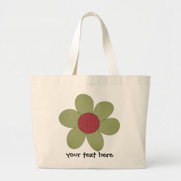 polka dot cutie green large tote bag