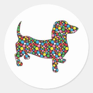 Polka Dot Dachshund Classic Round Sticker