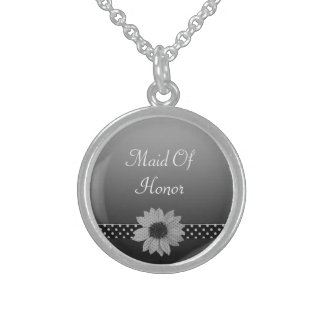Polka Dot Daisy Grey & Black Wedding Sterling Silver Necklace