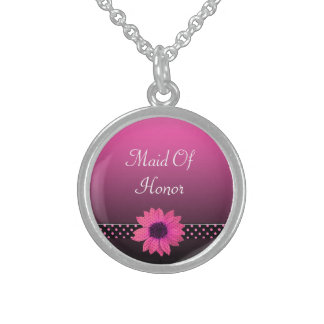 Polka Dot Daisy Pink Wedding Sterling Silver Necklace