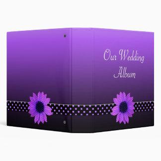 Polka Dot Daisy Purple Wedding 3 Ring Binder
