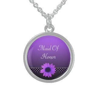 Polka Dot Daisy Purple Wedding Sterling Silver Necklace