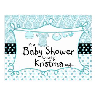 Polka Dot Damask Baby Boy Shower Invitation Post Card
