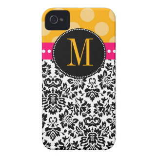 Polka Dot & Damask | Monogram iPhone 4 Case