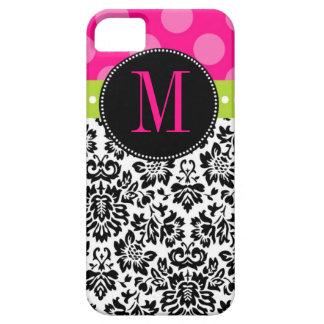 Polka Dot & Damask   Monogram iPhone SE/5/5s Case