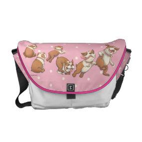 Polka Dot Dancing Bulldog Messenger Bag