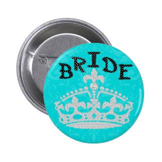 Polka Dot Diamond Princess Crown Bride Button