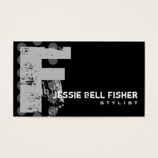 Polka Dot Distressed - Monogram F Business Card