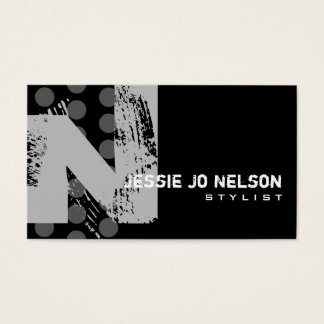 Polka Dot Distressed - Monogram N Business Card