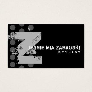 Polka Dot Distressed - Monogram Z Business Card