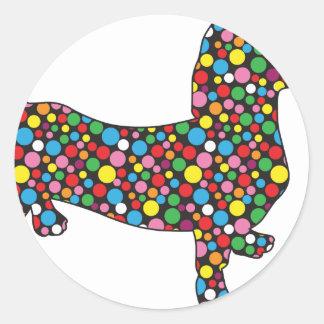 Polka Dot Doxie Classic Round Sticker