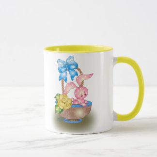 Polka Dot Easter Bunny In Basket With Rose Mug