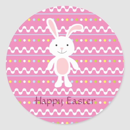 Polka Dot Easter Bunny Stickers