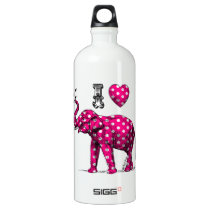 Polka Dot Elephant. Pink Elephant. Cute Elephant. Aluminum Water Bottle