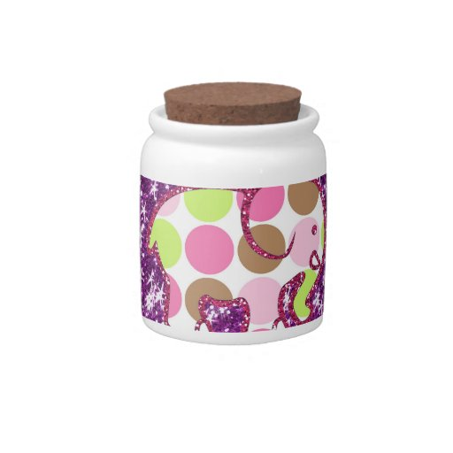 Polka Dot Elephant Sparkly Purple Girly Gifts Candy Jar