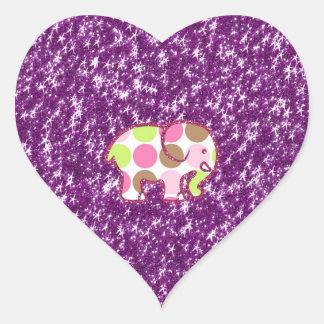 Polka Dot Elephant Sparkly Purple Girly Gifts Heart Sticker