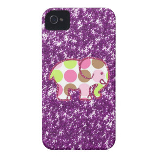 Polka Dot Elephant Sparkly Purple Girly Gifts iPhone 4 Case