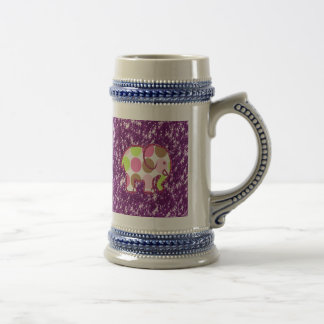 Polka Dot Elephant Sparkly Purple Girly Gifts 18 Oz Beer Stein