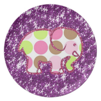 Polka Dot Elephant Sparkly Purple Girly Gifts Party Plate