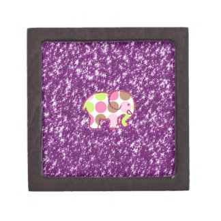 Polka Dot Elephant Sparkly Purple Girly Gifts Premium Gift Boxes