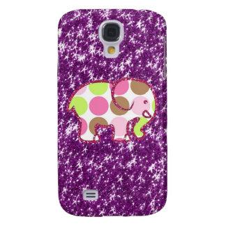 Polka Dot Elephant Sparkly Purple Girly Gifts Samsung S4 Case