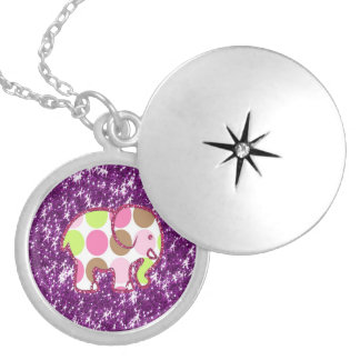 Polka Dot Elephant Sparkly Purple Girly Gifts Silver Plated Necklace