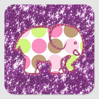 Polka Dot Elephant Sparkly Purple Girly Gifts Square Sticker