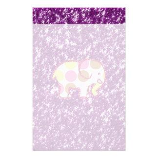 Polka Dot Elephant Sparkly Purple Girly Gifts Stationery