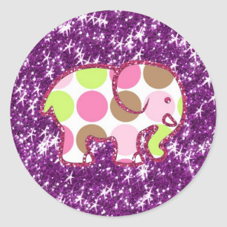 Polka Dot Elephant Sparkly Purple Girly Gifts Stickers